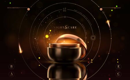 Luxury cosmetic black and gold night cream jar for skin care products. Illustration