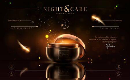 Luxe cosmetische zwart-gouden nachtcrèmepot voor huidverzorgingsproducten. Gezichtscrème. Mooi flyer- of bannerontwerp voor cosmetische advertenties. Elegante cosmetische premium crème sjabloon. Make-up merk