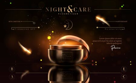Luxury cosmetic black and gold night cream jar for skin care products. Facial cream. Beautiful flyer or banner design for cosmetic ads. Elegant cosmetic premium cream template. Makeup brand