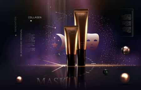 Elegant golden cosmetic luxury product background premium cream tube for skin care products. Luxury facial cream. Cosmetic ads flyer or banner design. Cosmetic cream template. Makeup products brand