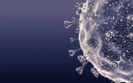 Close-up of virus cells or bacteria. Flu, view of a virus under a microscope, infectious disease. Germs, bacteria, cell infected organism. Virus H1N1, Swine Flu, Corona virus. 3d Rendering. Reklamní fotografie