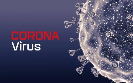 Corona virus. Close-up of virus cells or bacteria. Flu, view of a virus under a microscope, infectious disease. Germs, bacteria, cell infected organism. Virus H1N1, Swine Flu, 3d Rendering. Reklamní fotografie