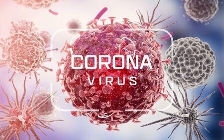 Corona virus. Virus cells or bacteria molecule. Flu, view of a virus under a microscope, infectious disease. Germs, bacteria, cell infected organism. Virus H1N1, Swine Flu. 3d Rendering