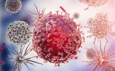 Close-up of virus cells or bacteria. Flu, view of a virus under a microscope, infectious disease. Germs, bacteria, cell infected organism. Virus H1N1, Swine Flu, Corona virus. 3d Rendering Reklamní fotografie