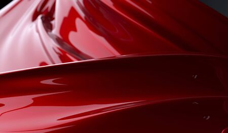 Abstract liquid red paint background. 3D rendering of abstract twisted shape of paint. Geometric digital art. Squeezed liquid shape. Red twisted viscous substance. Cover or poster design template