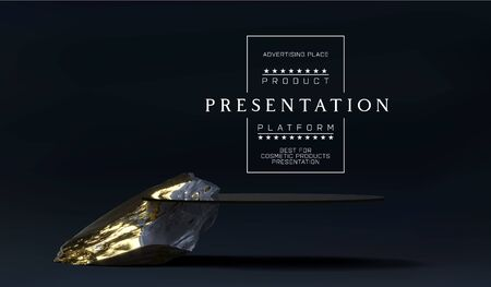 Stone podium for product presentation display. Marble black and gold Pedestal, Product Stand. Blank for mockup design. Minimalistic object placement, cosmetic product stone plate platform  イラスト・ベクター素材