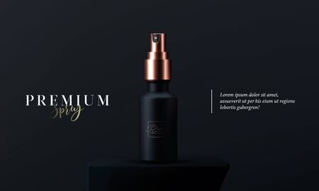 Elegant cosmetic spray for skin care on black background. Realistic vector 3d black and gold matte cosmetic spray mock up. Beautiful cosmetic template for ads. Makeup products brand