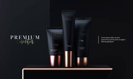 Luxury cosmetic tubes package skin care cream. Face mask, beauty cosmetic product poster, banner or website page header. Black and gold cosmetics package template. Tube golden design commercial. 일러스트
