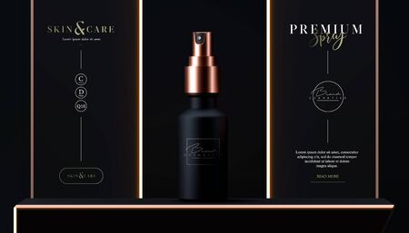 Elegant cosmetic spray for skin care on black background. Realistic vector 3d black and gold matte cosmetic spray mock up. Beautiful cosmetic template for ads. Makeup products brand.