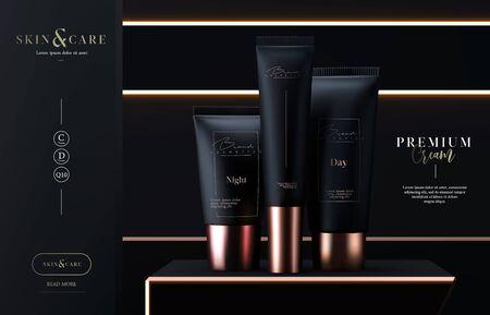 Luxury cosmetics tubes package skin care cream.