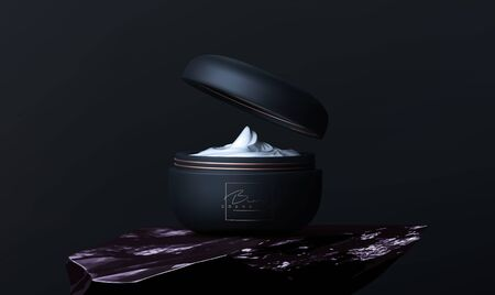 Luxury cosmetic face cream jar for skin care on black