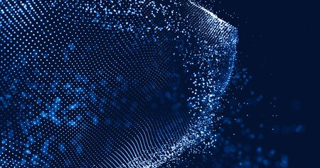 Data abstract futuristic technology background. Wave of particles. Low poly shape with connecting dots on dark background. 3D rendering. Big data visualization. Futuristic blue dots background. 스톡 콘텐츠