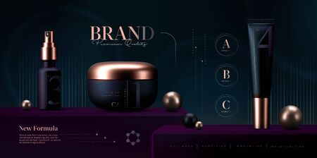Vector 3D elegant cosmetic products set on black