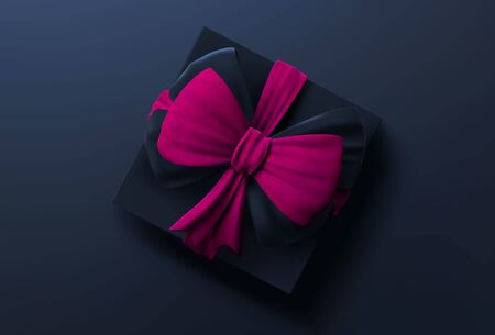 Black gift box with pink ribbon and bow on black