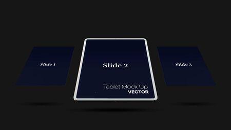Dark vector digital tablet mock up isolated on black background. Modern tablet mockup EPS10
