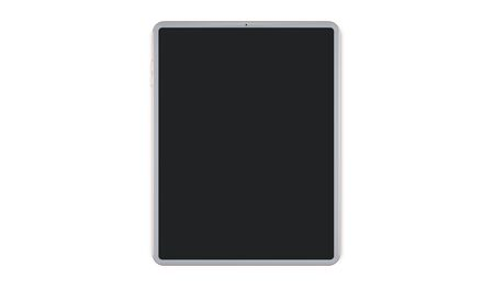 White tablet computer with blank screen mockup lies on the surface, isolated on white background. 3d rendering.
