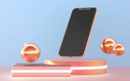 Premium mobile phone blank screen mock up template. Modern smartphone mockup, 3D rendering.