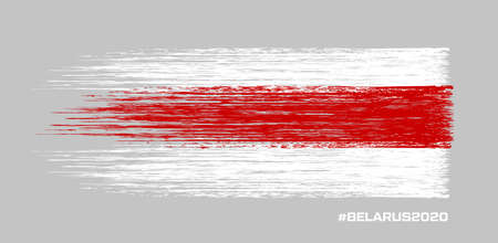 Belarus white-red-white flag. Elections in Belarus 2020. Long live Belarus. Symbol of protest and disagreement. Vector stock illustration. Gray background
