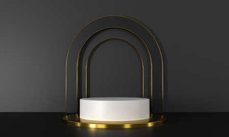 3D rendering podium white and gold elements. Abstract geometric shape blank podium. Minimal scene step floor abstract composition. Empty showcase, pedestal platform display for product presentation.