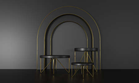 3D rendering podium black and gold elements. Abstract geometric shape blank podium. Minimal scene step floor abstract composition. Empty showcase, pedestal platform display for product presentation. Imagens