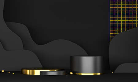 3D rendering podium black and gold elements. Abstract geometric shape blank podium. Minimal scene step floor abstract composition. Empty showcase, pedestal platform display.