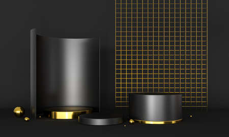 3D rendering podium black and gold elements.