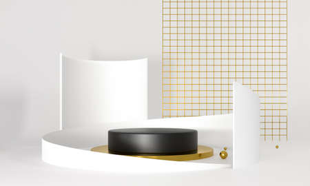 3D rendering podium white and gold elements. Abstract geometric shape blank podium. Minimal scene step floor abstract composition. Empty showcase, pedestal platform display.