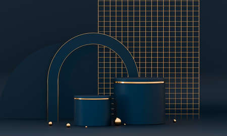 3D rendering podium geometry with blue and gold elements.