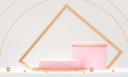 3D rendering white podium geometry with gold elements. Abstract geometric shape blank podium. Scene for product presentation. Empty showcase, pedestal platform display.