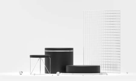 3D rendering podium geometry. Abstract geometric shape blank podium. Minimal scene square step floor abstract composition. Empty showcase, pedestal platform display. Imagens