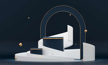 3D rendering podium geometry with blue and gold elements. Abstract geometric shape blank podium. Minimal scene round step floor abstract composition. Empty showcase, pedestal platform display.