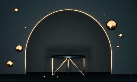 3D rendering black podium geometry with gold elements. Product presentation blank podium. Minimal scene round step floor abstract composition. Empty showcase, pedestal platform display.