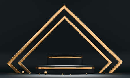 3D rendering black podium geometry with gold elements.