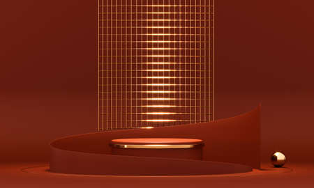 3D rendering red podium geometry with gold elements. Product presentation blank podium. Minimal scene round step floor abstract composition. Empty showcase, pedestal platform display.