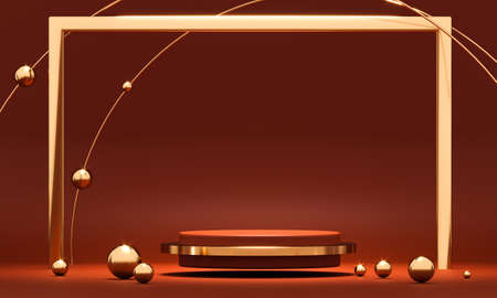 3D rendering red podium geometry with gold elements. Product presentation blank podium. Minimal scene round step floor abstract composition. Empty showcase, pedestal platform display. Imagens