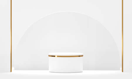 3D rendering white podium geometry with gold elements. Product presentation blank podium. Minimal scene round step floor abstract composition. Empty showcase, pedestal platform display.
