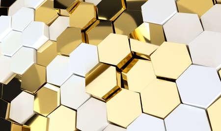 Abstract luxury background with golden hexagons. 3d rendering