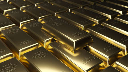 Stack of gold bars. Financial concepts. 3d rendering