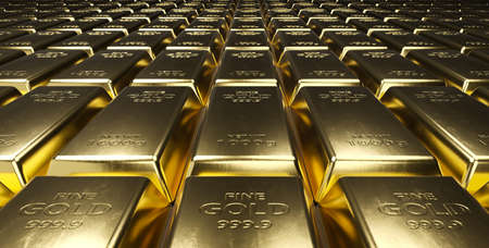 Stack of gold bars. Financial concepts. 3d rendering.