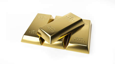 Gold bar isolated on white background. Financial concept. 3d rendering.