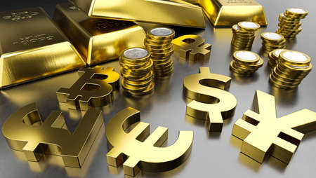 Gold bars and golden currency symbols. Stock exchange background, banking or financial concept. 3d rendering