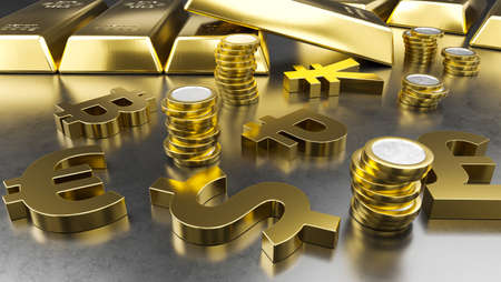 Gold bars, golden coins and currency symbols. Stock exchange background, banking or financial concept. 3d rendering