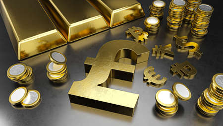 Pound stands out from other currencies. Pound strengthening. Gold bars, golden coins and currency symbols. Stock exchange background, banking or financial concept. 3d rendering