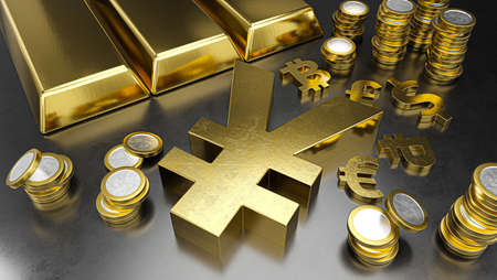 Yuan stands out from other currencies. Yuan strengthening. Gold bars, golden coins and currency symbols. Stock exchange background, banking or financial concept. 3d rendering
