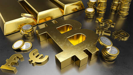 Bitcoin stands out from other currencies. Bitcoin strengthening. Gold bars, golden coins and currency symbols. Stock exchange background, banking or financial concept. 3d rendering Reklamní fotografie