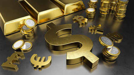Dollar stands out from other currencies. Dollar strengthening. Gold bars, golden coins and currency symbols. Stock exchange background, banking or financial concept. 3d rendering
