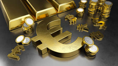 Euro stands out from other currencies. Euro strengthening. Gold bars, golden coins and currency symbols. Stock exchange background, banking or financial concept. 3d rendering