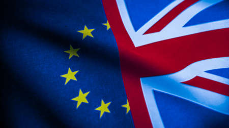 Flags of the United Kingdom and European Union. Brexit concept. Great Britain and Euro flag. 3d Rendering