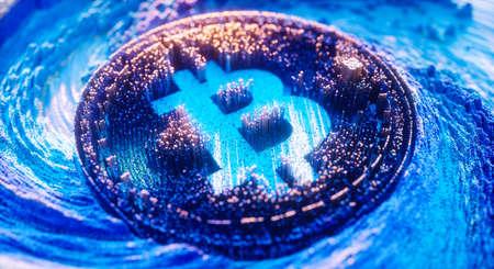 Digital Art Bitcoin Logo Symbol. Cryptocurrency Futuristic 3D Illustration