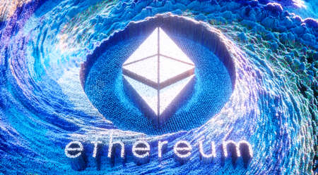 Digital Art Ethereum Logo Symbol. Cryptocurrency Futuristic 3D Illustration